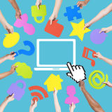 Hands Holding Multi Colored Icons Stock Images