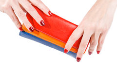 Hands holding multicolor wallet, isolated on white background Royalty Free Stock Image
