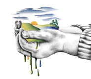 Childs Hands holding world and nature pencil illustration Royalty Free Stock Image