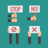 Hands holding No, Stop, Cross, Forbid protest signs. Vector flat set. Revolution and objections, page with text illustration Royalty Free Stock Image