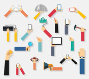 Hands holding objects vector Stock Photography