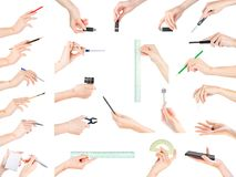 Hands holding office, stationery, writing and education theme it Stock Image