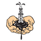 Hands holding an oil rig. Oil production. Hands holding an oil rig. Petroleum production vector illustration
