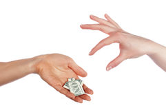 Hands holding a one dollar Royalty Free Stock Photo