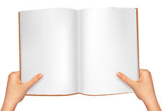 Hands holding open book. Vector Stock Images