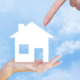 Hands holding a paper Home Royalty Free Stock Images