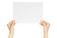 Hands holding paper isolated Royalty Free Stock Photo