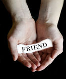 Hands Holding Paper Message Friend Stock Images