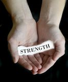Hands Holding Paper Message Strength Stock Images