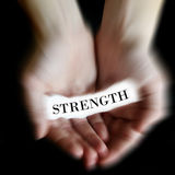 Hands Holding Paper Message Strength Stock Photo