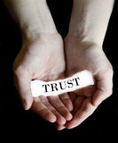 Hands Holding Paper Message Trust Stock Photo