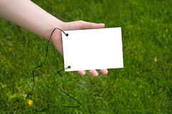 Hands holding a paper note. White sheet in woman`s hands for your text. Green grass is background Royalty Free Stock Images