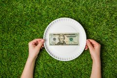 Hands holding paper plate with dollars over grass Royalty Free Stock Photos