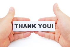 Hands holding paper of thank you Stock Image