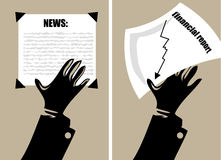 Hands holding papers Stock Images
