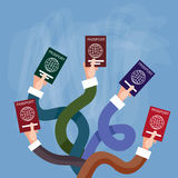 Hands Holding Passport International Travel Document. Flat Vector Illustration Royalty Free Stock Photo