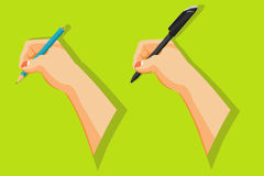 Hands holding pen and pencil to write. Set of Hands holding pen and pencil to write Stock Photo