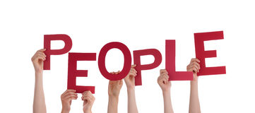 Hands Holding People. Many Hands Holding the Word People, Isolated Stock Photography