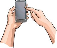 Hands holding the phone with a blank screen Royalty Free Stock Image