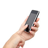 Hands holding a phone and touches the screen Stock Images