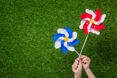 Hands holding pinwheels over grass Royalty Free Stock Images