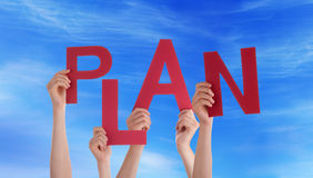 Hands Holding Plan in the Sky. Many Hands Holding the Word Plan in the Sky Royalty Free Stock Photo