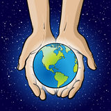 Hands Holding Planet. An illustration of hands holding the globe Stock Photography