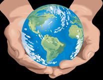 Hands Holding Planet Earth Stock Photo