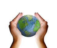 Hands holding planet earth stock photos