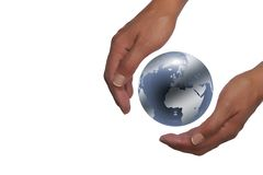 Hands holding planet earth. In white background royalty free stock images