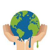 hands holding planet earth melting icon Royalty Free Stock Photography