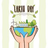 Earth day card. Hands holding planet environment ecology earth day vector illustration vector illustration