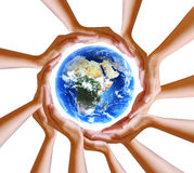 Hands Holding Planet. Multiple hands holding the beautiful blue planet Earth Stock Photography