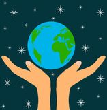 God`s Hands Holding Planet Earth in Space royalty free illustration