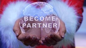 Hands holding planet with text become partner