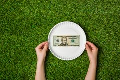 Hands holding plate with dollars over green grass Royalty Free Stock Photography