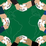 Hands holding playing cards with symbols of nuclear weapons over earth,vector Royalty Free Stock Photo