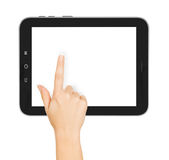 Hands holding and point on digital tablet Royalty Free Stock Photography