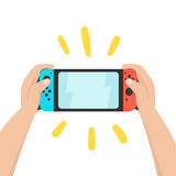 Hands holding portable console. Vector hand drawn illustration Stock Image