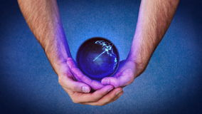 Hands holding a purple planet that reveal chroma key screen stock footage