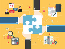 Hands holding puzzle pieces and icons business. Stock Photography