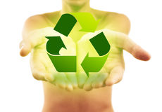 Hands holding recycle sign royalty free stock images