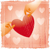 Hands holding red heart Royalty Free Stock Images