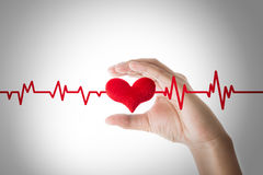 Hands holding red heart with ecg line on white background. Heart or pulse rate concept royalty free stock photos
