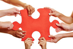 Hands holding red jigsaw puzzle. Many hands holding a big red jigsaw puzzle piece Stock Photo
