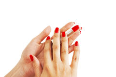 Hands Holding Red Lipstick Stock Image