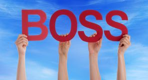 Hands Holding Red Straight Word Boss Blue Sky Stock Photo