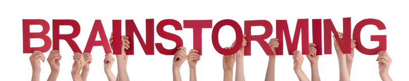 Hands Holding Red Straight Word Brainstorming Royalty Free Stock Photo