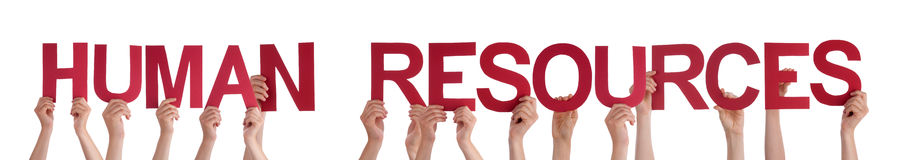 Hands Holding Red Straight Word Human Resources Royalty Free Stock Photo