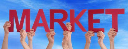 Hands Holding Red Straight Word Market Blue Sky Royalty Free Stock Photos